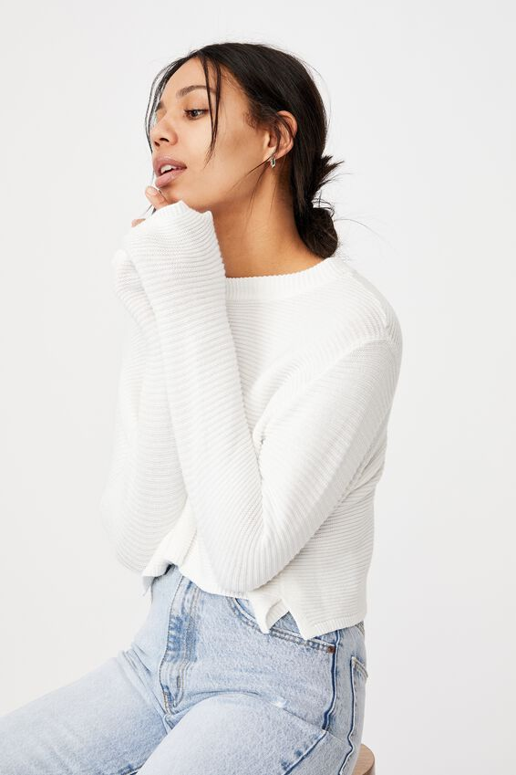 Cotton Cropped Pullover, SNOW WHITE