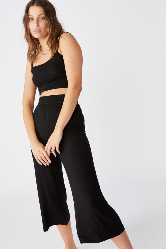 Piper Knit Rib Pant, BLACK
