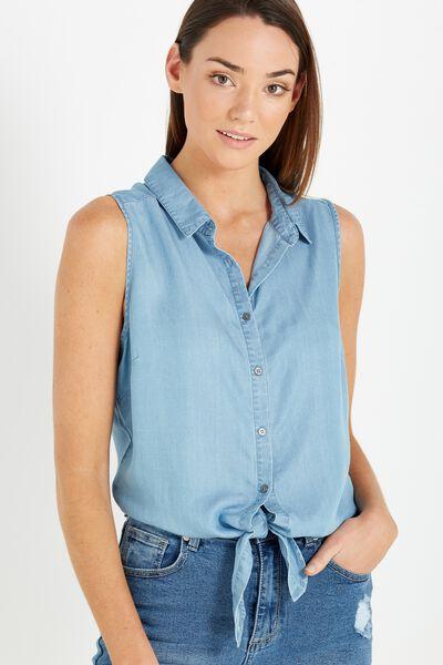 Billie Sleeveless Shirt, LYOCELL