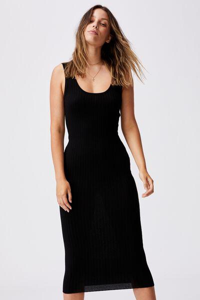 Annie Strappy True Knit Midi Dress, BLACK
