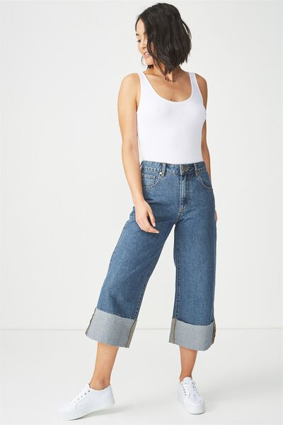 Mid Rise Wide Leg Crop Jean, DARK BLUE TURN UP CUFF