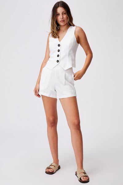 Ultimate Linen Crop Vest, WHITE