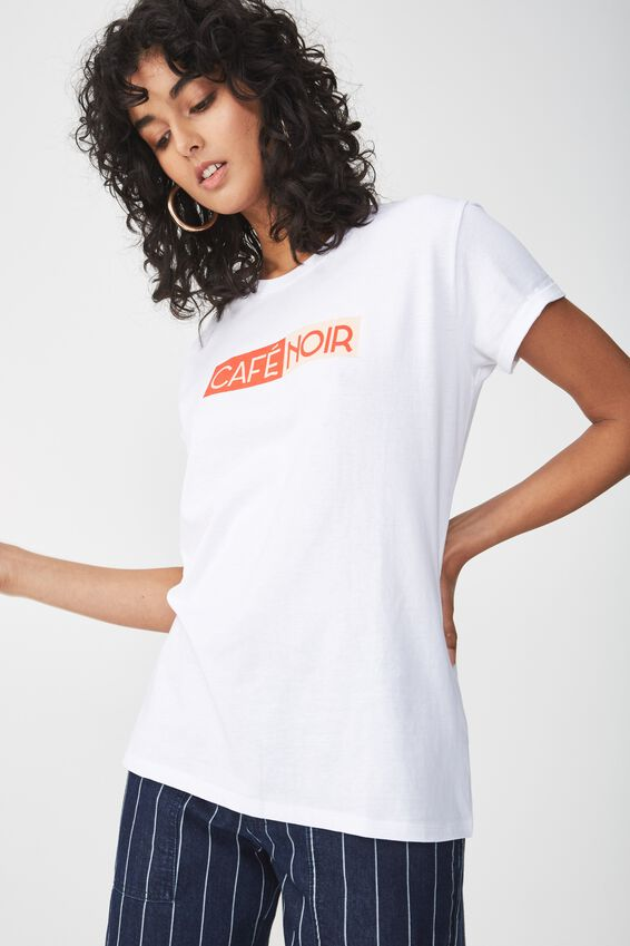 Tbar Fox Graphic T Shirt, CAFÉ NOIR/WHITE