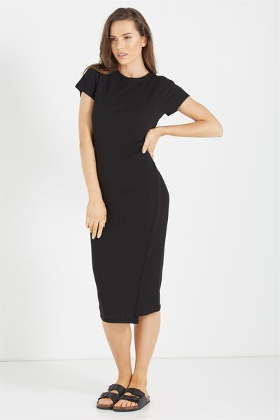 Anthea Short Sleeve Midi Dress, BLACK RIB
