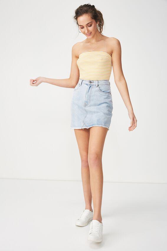 Kylie Strapless Bodysuit, JESSIE STRIPE WHITE/BUTTERCUP