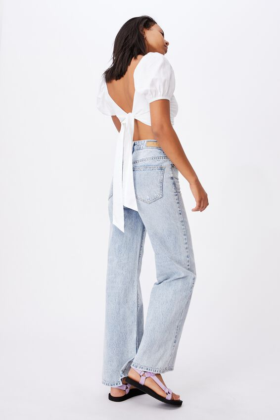 Lola Twist Front Blouse, WHITE