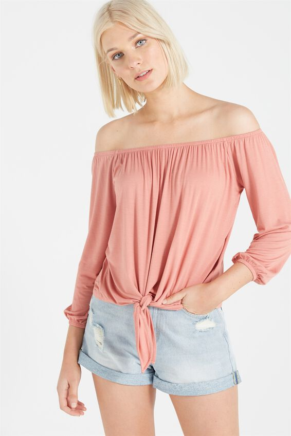 Avery Off The Shoulder Top, BLUSH