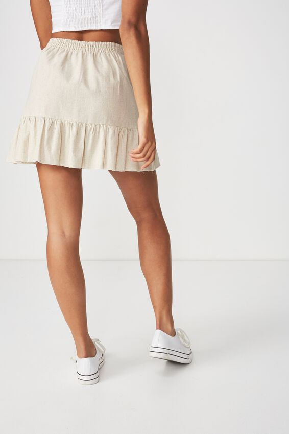 Woven Jordana Mini Skirt, LATTE MARLE