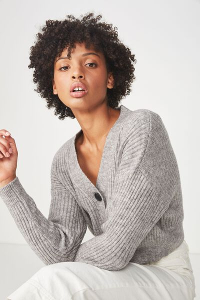 Luxe Cropped Cardi, GREY MARLE