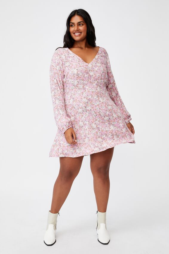 Curve Ashley Long Sleeve Mini Dress, DIANE FLORAL PINK CHERRY BLOSSOM