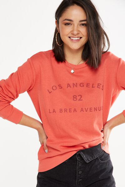 Ferguson Graphic Crew Sweater, LOS ANGELES 82/SPLICED CORAL