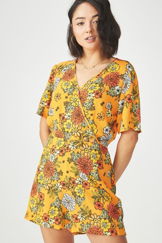 Woven Angie Cap Sleeve Playsuit, LISA FLORAL FLAME ORANGE