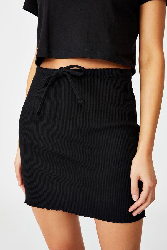 Streamline Ribbed Mini Skirt, BLACK
