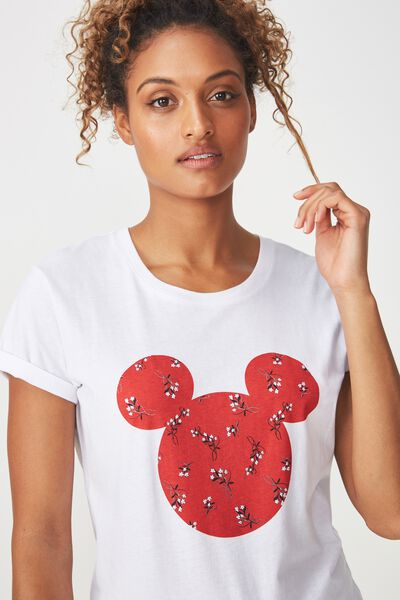 Tbar Fox Graphic T Shirt, LCN MICKEY HEAD CLAIRE FLORAL/WHITE