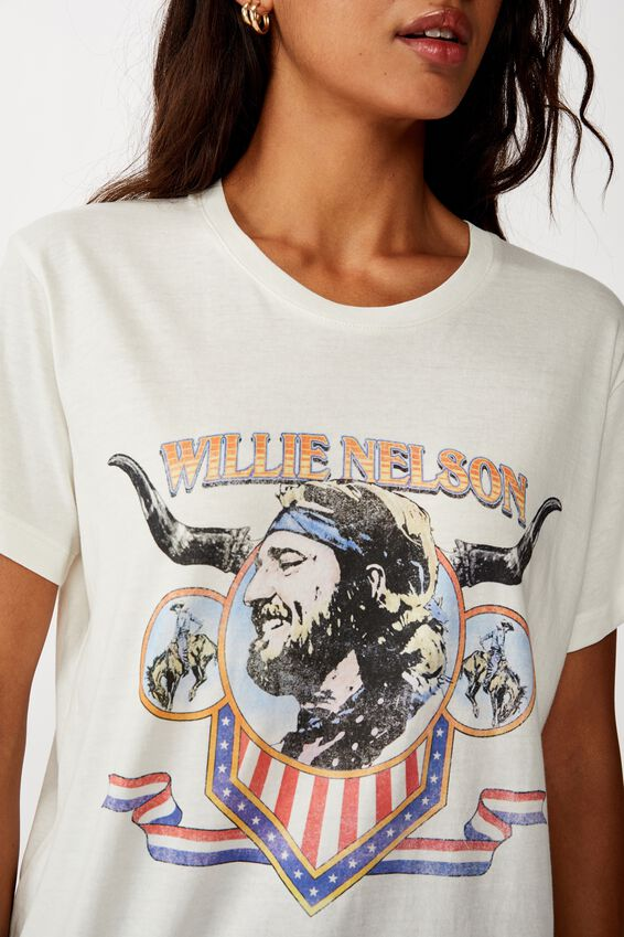 Classic Band T Shirt, LCN BR WILLIE NELSON FLAG/VAPOROUS GREY
