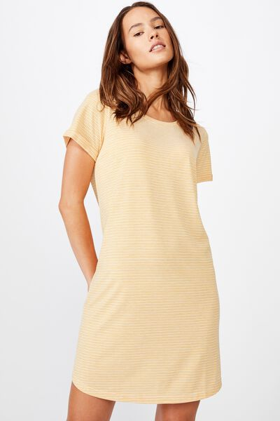 Tina Tshirt Dress 2, MINI MOLLY STRIPE HONEY GOLD/WHITE