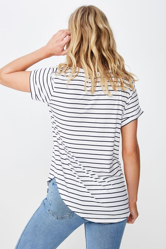 Karly Short Sleeve V Neck Top, CARL STRIPE WHITE MOONLIGHT