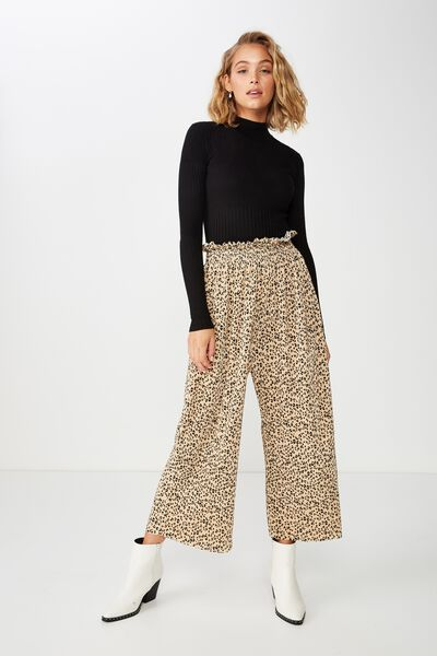 Paperbag Slinky Culotte, LEWIS ANIMAL HONEY PEACH