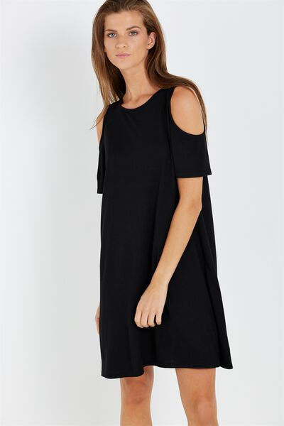 Leo Cold Shoulder Dress, BLACK