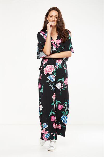 Woven Kassie Kimono Sleeve Jumpsuit, PENNY PINK
