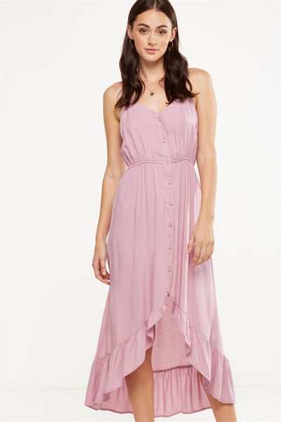 Woven Katrina Button Through Hi Low Maxi Dress, ORCHID HAZE
