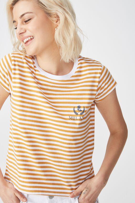 Tbar Rachael Graphic Tee Shirt, MILANO WHITE/SPRUCE YELLOW STRIPE