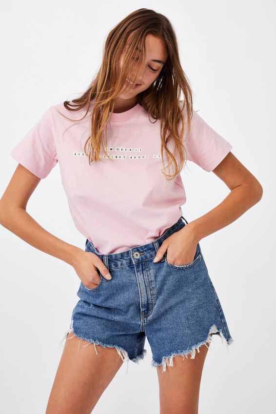 Classic Slogan T Shirt, OVER IT/SOFT ORCHID