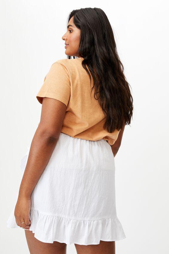 Curve Ruffle Beach Mini Skirt, WHITE