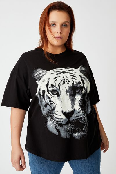 Curve Oversized Graphic Tee, WHITE TIGER/BLACK
