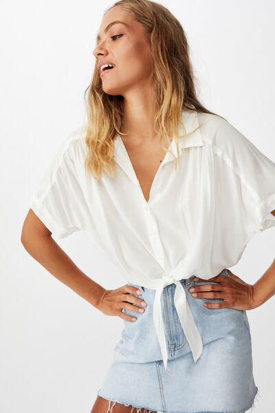 Epic Tie Front Short Sleeve Shirt, WHITE