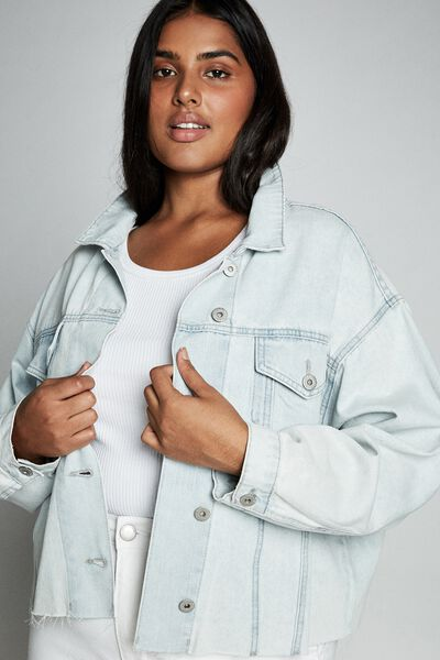 Curve 90S Baggy Denim Jacket, FADED BLUE