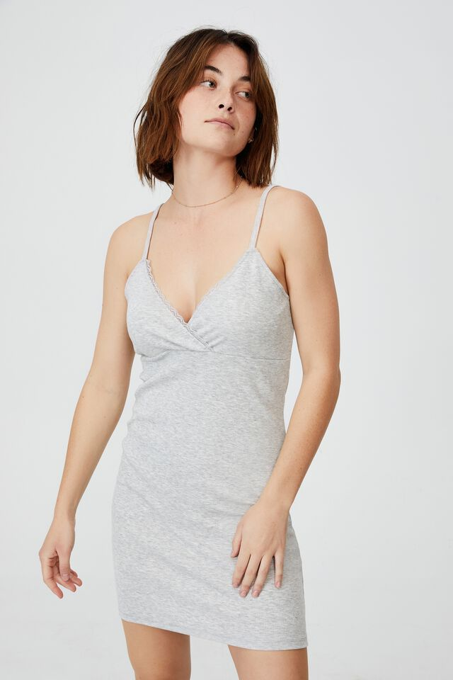 Darla Lace Cross Front Mini Dress, LIGHT GREY MARLE