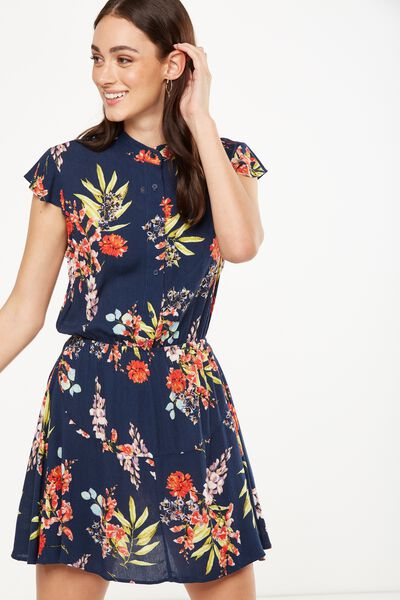 Woven Emily Short Sleeve Dres, MISSY FLORAL TOTAL ECLIPSE