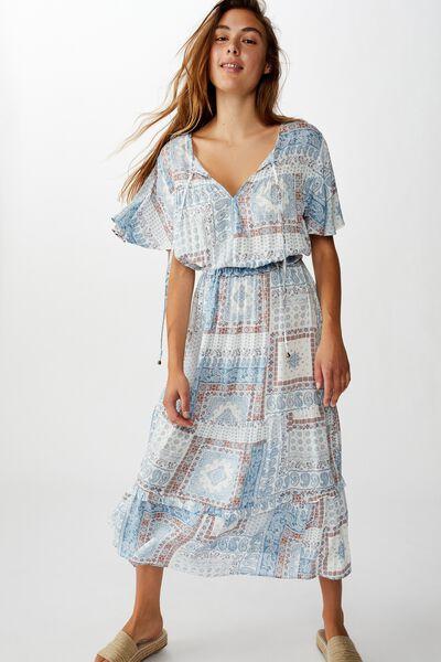 Woven Tabitha Short Sleeve Tiered Maxi Dress, CELIA BANDANA PROVINCIAL BLUE