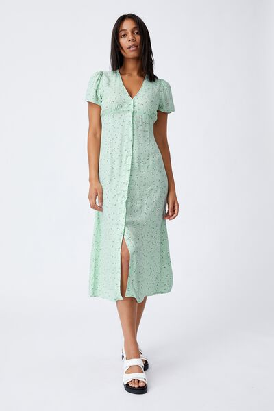 Woven Indi Short Sleeve Vneck Button Through Midi, RIDDLE DITSY SPRING MINT