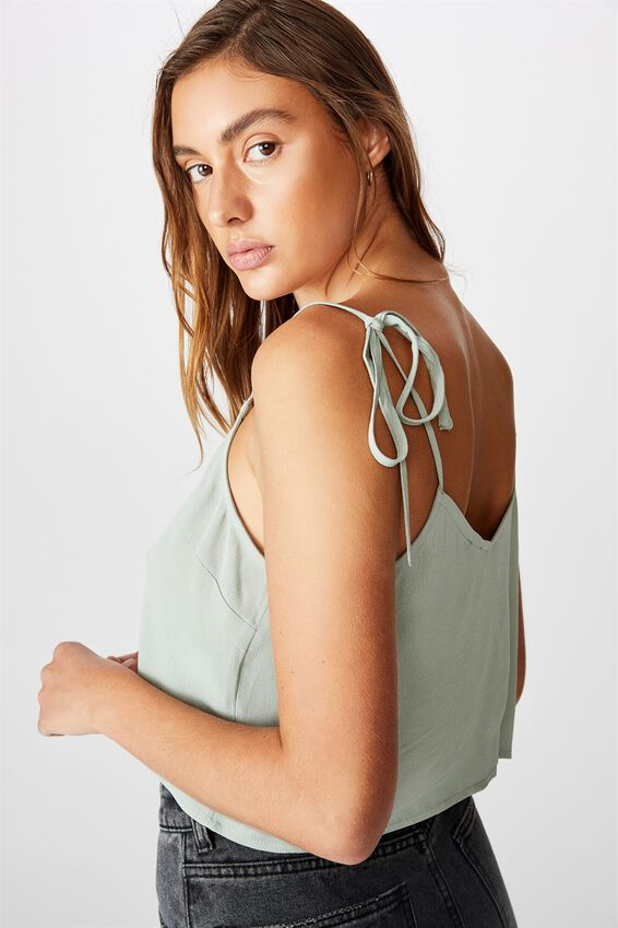 Astrid Cropped Tie Strap V Neck Cami, JADE