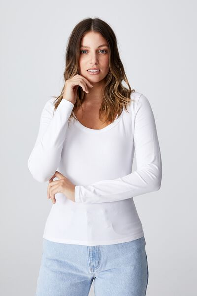 The Everyday Scooped Long Sleeve Top, WHITE