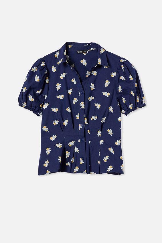Lila Puff Sleeve Shirt, ARABELLA FLORAL MEDIEVAL BLUE MINI