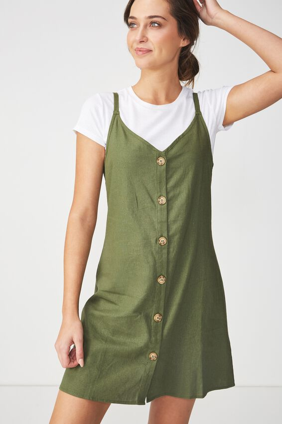 Woven Margot Slip Dress, BUTTON THROUGH SOFT KHAKI