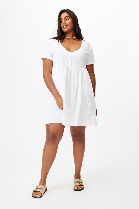 Curve Mini Button Up Beach Dress, WHITE