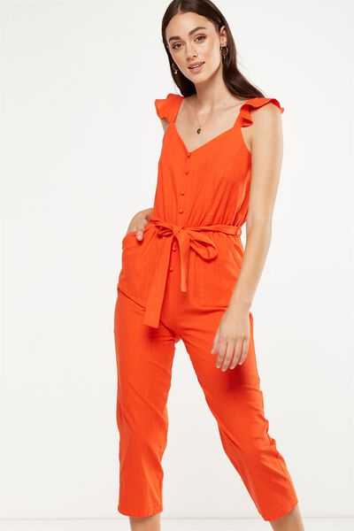 Woven Flo Tapered Jumpsuit, CHERRY TOMATO