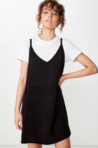Woven Mary Strappy Mini Dress, BLACK