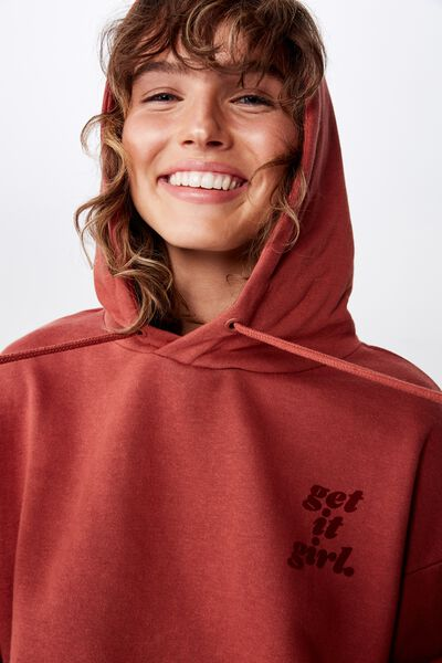 Mila Graphic Chopped Hoodie, GET IT GIRL/SPICED BROWN