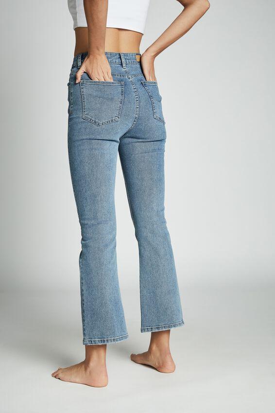 Cropped Kick Flare Jean, STONEWASH BLUE