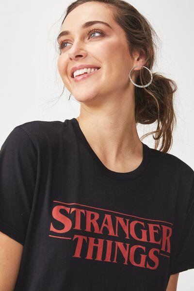Tbar Fox Graphic T Shirt, LCN STRANGER THINGS LOGO/BLACK