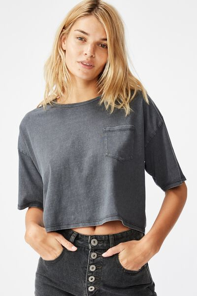 The One Slouch Pocket Tee, WASHED EBONY
