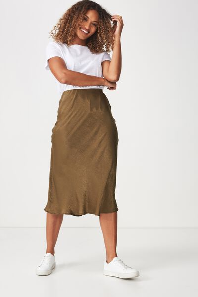 Woven Belle Bias Midi Skirt, OLIVE ELASTICATED