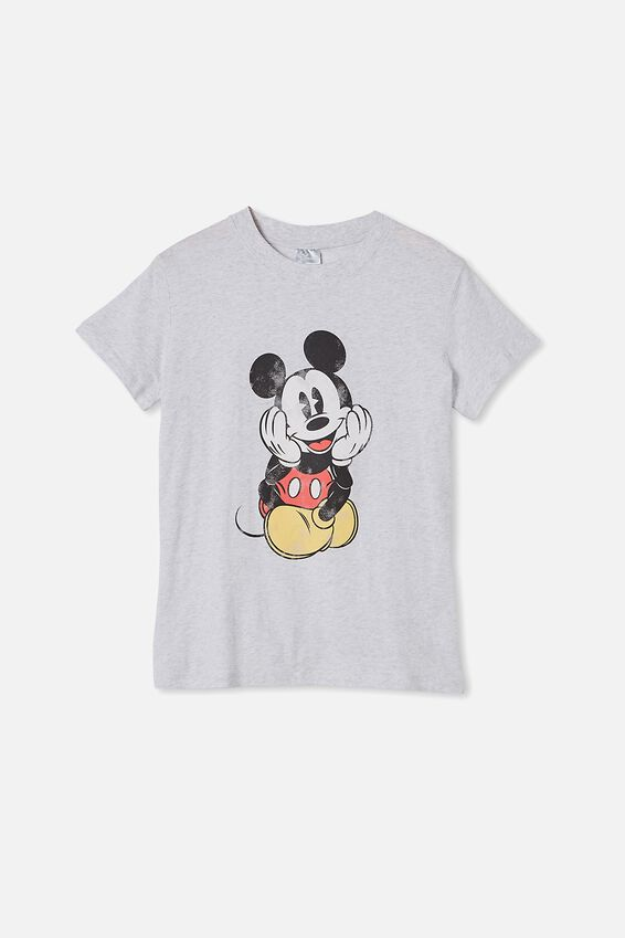 Classic Mickey Front & Back T Shirt, LCN DIS MICKEY FRONT AND BACK/SILVER MARLE