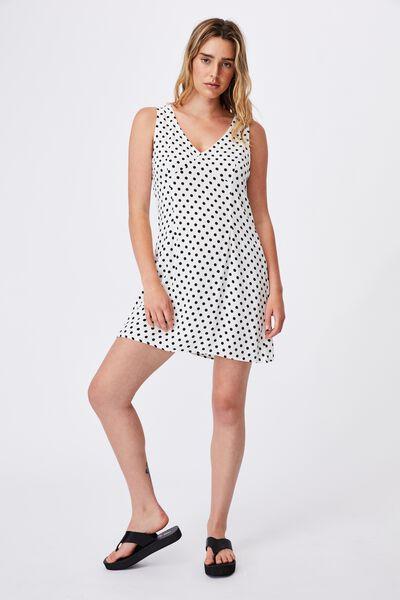 Woven Petite Danny Deep V Sleeveless Mini Dress, SALLY SPOT WHITE