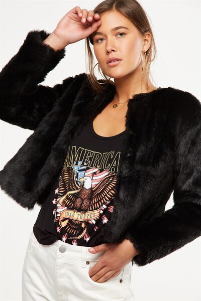 Faux Fur Jacket, BLACK